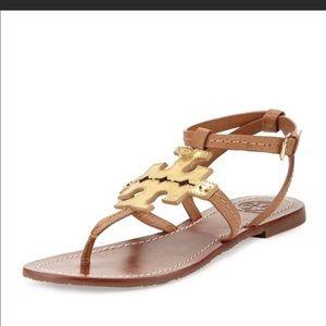 Tory Burch Phoebe Sandal Size 8 1/2, Tan & Gold